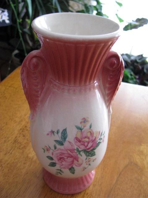 Vintage Dusty Rose 2 Handled Floral Vase 40s 50s