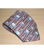 Kenneth Cole NY Burgundy Blue Gray Balls Silk Necktie 60 x 4 inches - $27.07