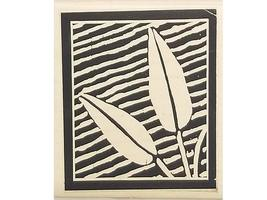 Rubber Nature Art Stamps Floral with Diagonal Lines Rubber Stamp image 1