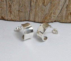 Concave Stud Earrings, 925 Sterling Silver, Handmade Women Hoop Earrings - $28.00