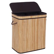 BEWISHOME Dirty Clothes Bin,Divided Bamboo Laundry Hamper with Lids, Mod... - $41.72