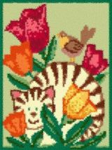 Latch Hook Rug Pattern Chart: Spring Cat - EMAIL2u - $5.75