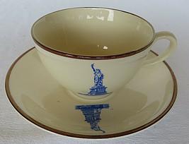 VTG Fondeville Staffordshire Porcelain England Statue of Liberty Cup & Saucer - $20.00