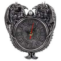 Pacific Giftware Dragon Twins Sentinel Double Dragons Guarding Orb Wall Clock Me - $20.99