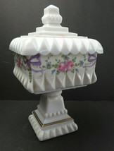 Vintage Westmoreland Hand Painted Milk Glass Covered Candy Sugar Dish Compote #2 - $25.00