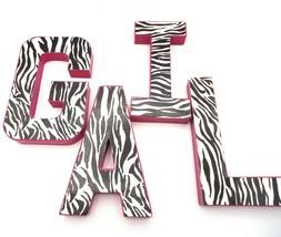 "Girls Name Letters GAIL Wall Shelf Standing Decor 8"" High Pink Zebra Pai... - $12.19"