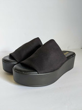 Vintage 90s Thick Stretchy Strap Black Platform Slide Sandals Size 6 - $57.59
