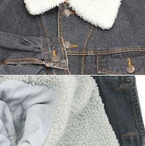 Men's Classic Button Up Sherpa Fleece Lined Cotton Denim Trucker Jean Jacket image 7
