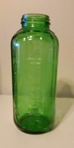 Vintage Green Embossed Glass Water Jar 32 OZ #309 E-23D3 19 On The Bottom - $14.03