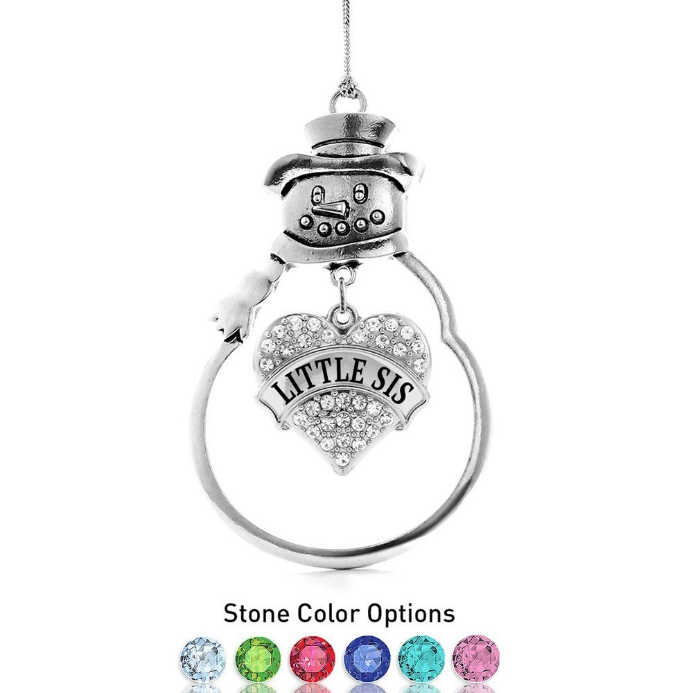 Inspired Silver Little Sis Pave Heart Snowman Holiday Ornament- Select Your Ston - $14.69