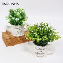 artificial plastic flowers with Ceramics vase cute artificial flower set... - $7.50