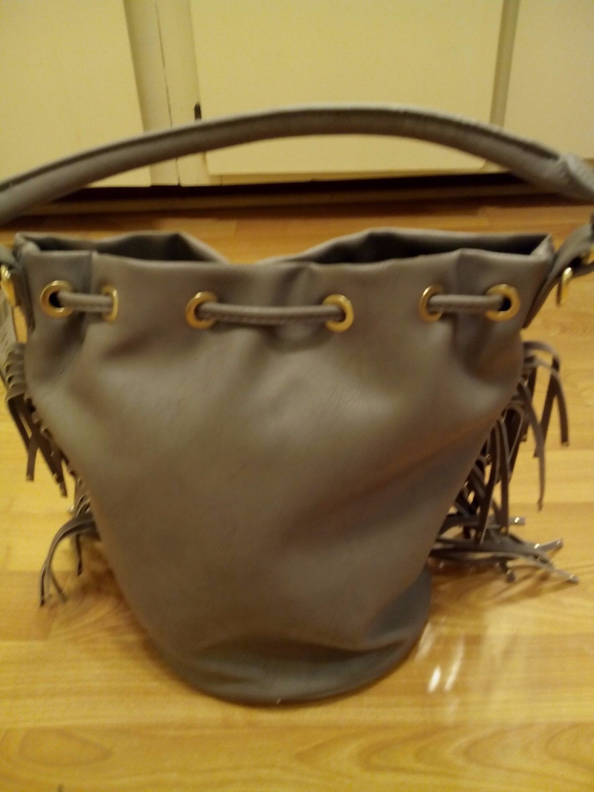 6ae2c73ab3 New BCBG Taupe Faux Leather Fringe Tote Shoulder Bag DC14-BCBGP-0091