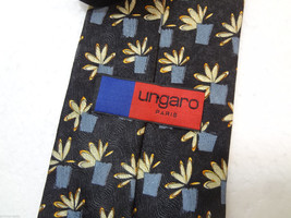 "Ungaro Paris Black w Yellow Flowers & Gray Pots Silk Necktie 59 x 3 7/8""... - $38.17"