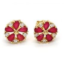 Brand New Stud Earrings~14K Gold Filled~Flower Style~Ruby & White Sapphi... - $24.99