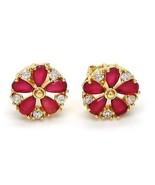 Brand New Stud Earrings~14K Gold Filled~Flower Style~Ruby & White Sapphi... - $24.99