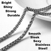 "3mm Wheat Chain Necklace Pure Stainless Steel (36"") - £30.43 GBP"