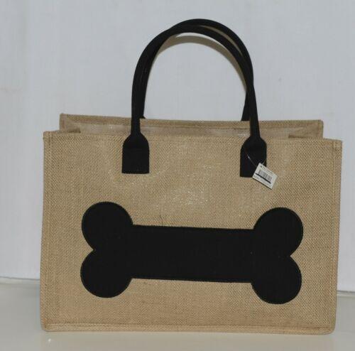 MSC PDBT0899 Pet Bone Burlap Canvas Black Tote Bag