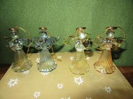 """4 Beautiful Hand Blown Angel Ornaments-Gold Trim-2 3/4"""" Tall-IOB - $6.00"""