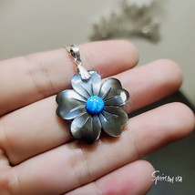 Rainbow Mother of Pearl Blue Opal Flower Necklace Shell Pendant Sterling... - $52.00