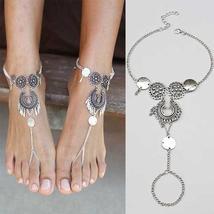 Retro Bohemian Style Antique Silver Hollow Lady Anklet Bracelet Fashion Tassels