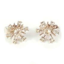 Vintage Clip On Earrings Rhinestone Snowflake Silvertone - $16.99