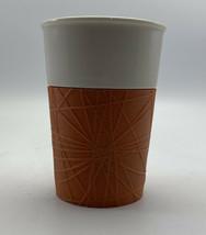 Starbucks Travel Mug 2013  8 oz Ceramic Cup Tumbler With Orange Rubber Grip - $14.84