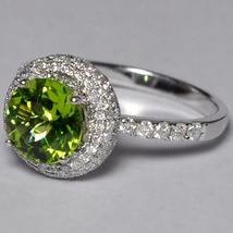 Natural Peridot Diamond Solitaire Statement Ring Women 14K White Gold 2.... - $1,680.00