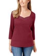 Karen Scott Cotton Studded Top (Merlot, XS) - $19.68