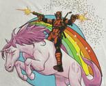 Marvel Deadpool Riding a Pink Unicorn with Rainbow on White Men's T-Shirt RARE