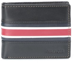New Tommy Hilfiger Men's Premium Leather Passcase Card Wallet Black 31Tl13X002