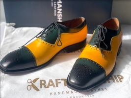 Handmade Men's Yellow & Green Leather Brogues Lace Up Dress/Formal Oxford Shoes image 1