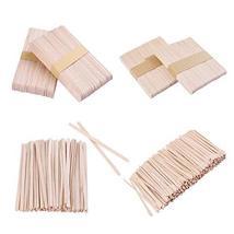Whaline 4 Style Assorted Wax Spatulas Wax Applicator Sticks Wood Craft Sticks, L image 3