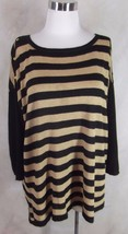 Dana Buchman Knit Top Sweater 1X Glack Gold Metallic Stripe 3/4 Sleeve - $23.74