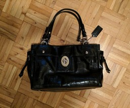 Coach Croc Embossed Black Patent Leather Carryall Shoulder Tote Bag - $55.00