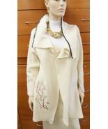 JACKET WOOL KNIT COAT MADE IN EUROPE ORGANIC WOOL ARTISAN OFF WHITE XS S... - $318.40