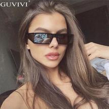 Vintage Rectangle Sunglasses Women Small Frame Mirror Sun Glasses Silver Black L image 2
