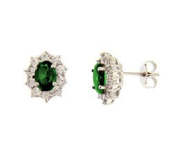 18K WHITE GOLD FLOWER EARRINGS OVAL GREEN CRYSTAL AND CUBIC ZIRCONIA FRAME 13mm image 1