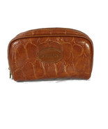 Revlon Zippered Cosmetic Toiletry Travel Bag Men Women Brown Faux Reptile - $14.84