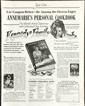 1968 PRINT AD for Annemarie's Personal Cookbook Kennedy Family Cook - $11.89