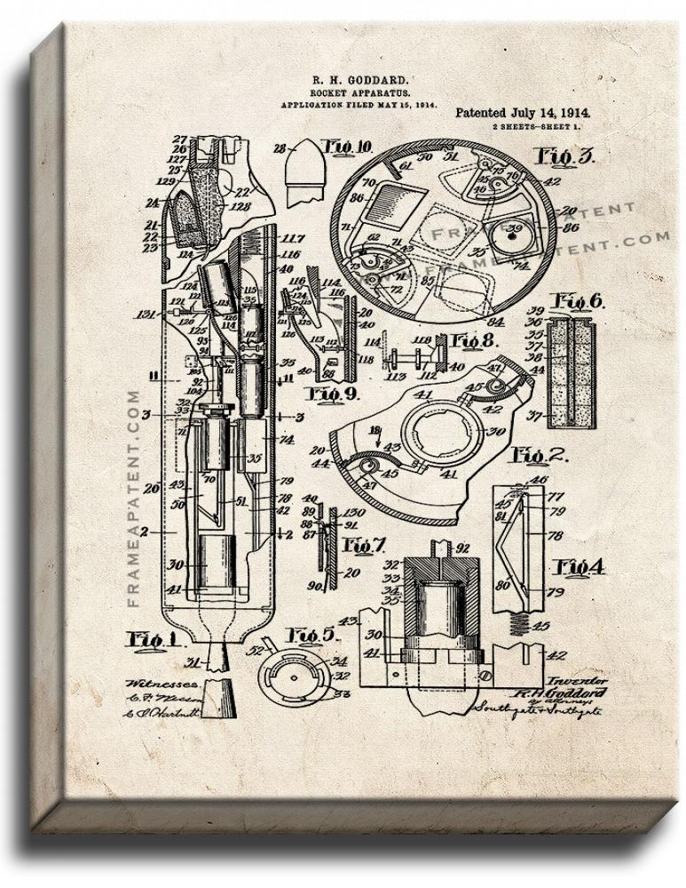 Primary image for Goddard Rocket Apparatus Patent Print Old Look on Canvas