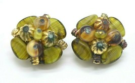 Western Germany Green Gold Cluster Glass Beaded Gold Tone Earrings Vintage - $19.79
