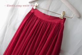 RED Full Tulle Skirts Women Tulle Maxi Skirt Red Wedding Bridesmaid Full Skirts image 7