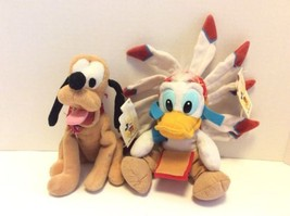 Disney Parks Frontierland Donald Duck and Pluto Bean Bag Plush Stuffed T... - $28.04