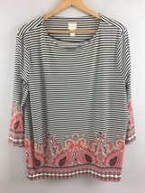 Chico's Top 3 Black White Stripe Shirt Stretch Paisley Round - $20.79