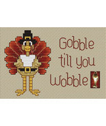 Gobble Til You Wobble Post Stitches cross stitch chart with charm Sue Hi... - $5.40