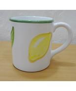 Williams Sonoma White w Lemons & Green Trim Ceramic Mug 12 oz Made in It... - $24.01