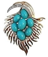 Trifari Faux Turquoise Cabochon Brooch c. 1960s - $125.00