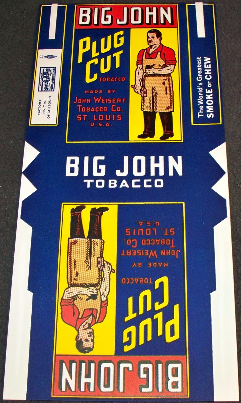 Large! Big John Tobacco Label / Store Display, 1940's