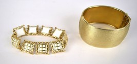 Napier Bracelet Chunky Brushed Bangle Cuff Gold White Caged Pillow Link ... - $49.50