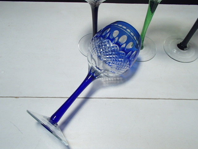 4 Cut to Clear Colored Wine Stems in the Clarendon Pattern ~ B
